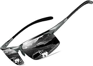 Mens Polarized Carbon Fiber Sunglasses UV Protection Sports Fishing Driving Sunglasses for Men Al-Mg Frame