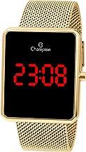 Relógio Champion Feminino Digital LCD Dourado Quadrado