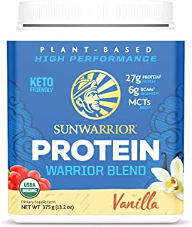 Sunwarrior Warrior Blend, Organic Vegan Protein Powder with BCAAs and Pea Protein (Vanilla, 15 Servings)