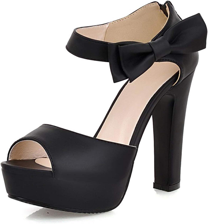 QianQianStore Womens Spike High Heels Platform Sandals Sexy Peep Toe Black Thin Heel Ankle Strap Zip Pumps