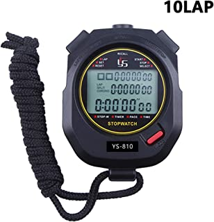 Stopwatch 10/100 Lap Split Memory Digital Stopwatch Timer Calendar Alarm, Pace Mode with 3-Row Extra Large Screen Water Resistant Includes Battery, Lanyard for P.E Coach and Sport Event ¡