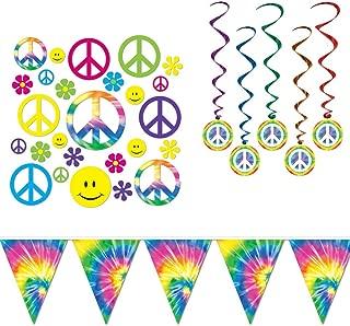 Retro 60's Peace Tie Dye Decorations Cutouts Dangling Whirls Banner 48 Piece Bundle