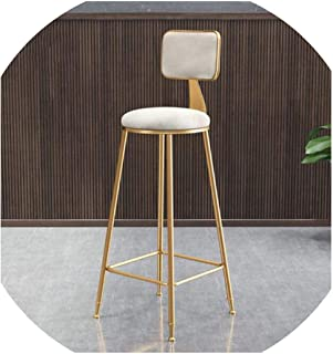 Ge-store Minimalist Golden Bar Chair Backrest High Stool Stool Front Dining Room Leisure,B3