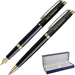 Dayspring Pens | Personalized WATERMAN Hemisphere Fountain & Ballpoint Gift Pen Set - Black. Custom Engraved Fast!