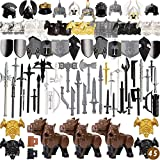 Leic Juego de Armas de Armadura de 82 Piezas para Bloques de construcción, Medieval, Antigua Roma, Grecia, Estilo Egipcio, Equipo SWAT, Figura, Casco de Arma, Kit Compatible con Lego