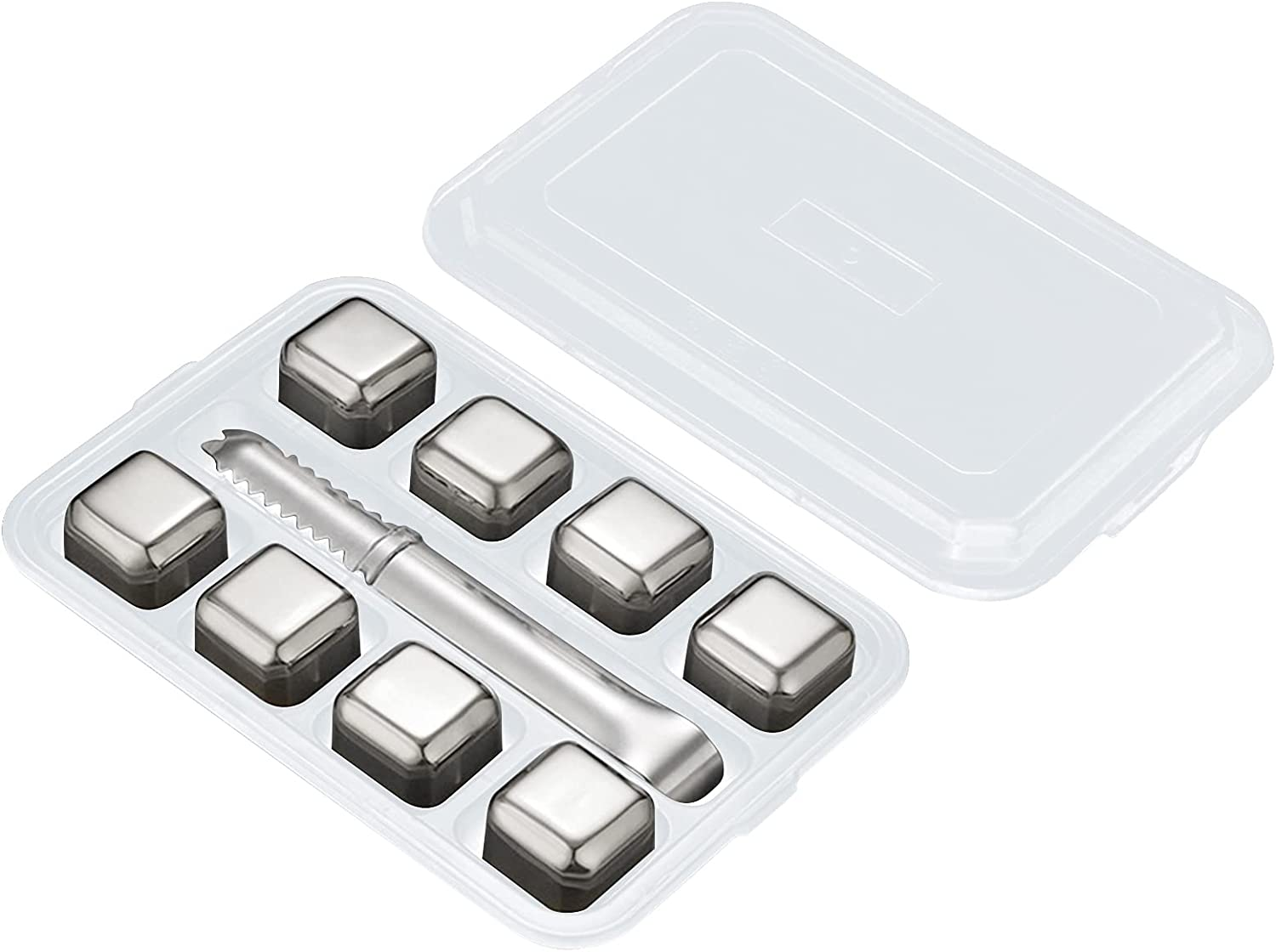 Whiskey Stones Cash special price Stainless NEW before selling ☆ Steel Ice With Container Tongs 8pcs