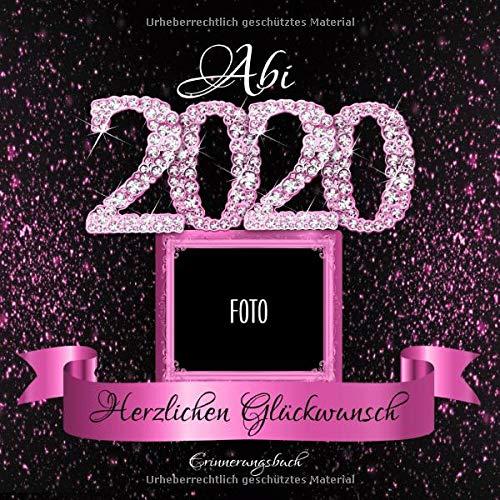 Abi 2020: Personalisiertes Gästebuch I Festliches Schwarz Pink Diamant Cover mit Fotorahmen I...