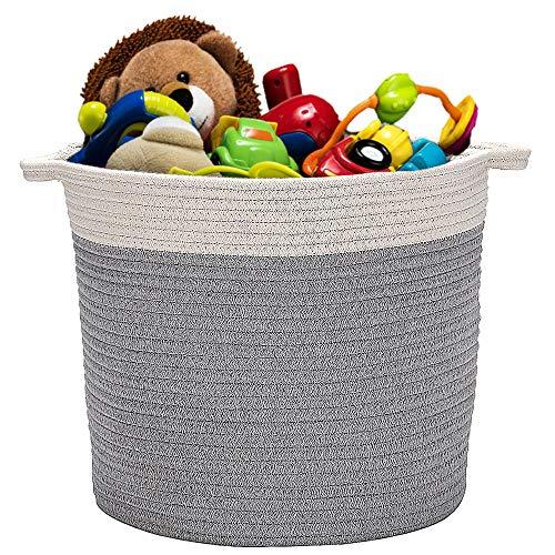 Cestino in corda intrecciata di cotone naturale da con manici adatto come ripostiglio per la cameretta dei bambini. Grey & Nature 13.8'(Diameter)*15'(H)