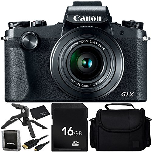 "Canon PowerShot G1 X Mark III - 6PC Accessory Bundle Includes 16GB SD Memory Card + Memory Card Wallet + Ultimaxx 6.5"" Tabletop Pistol Grip Tripod + Medium Carrying Case + Micro HDMI Cable + MORE"