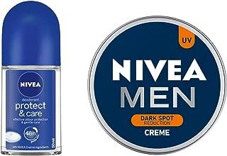 NIVEA Roll-on Deodorant, Protect and Care, 50ml and NIVEA MEN Cream, Dark Spot Reduction, 150ml