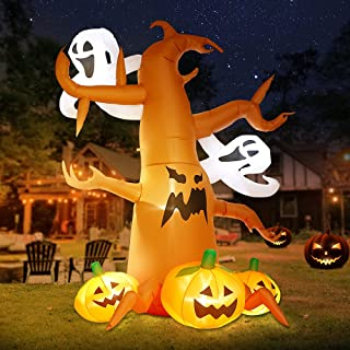 DomKom 8 FT Halloween Inflatable Decorations Spooky Tree with Ghost and Pumpkins, Outdoor Holiday Decor Blow Up Halloween ...