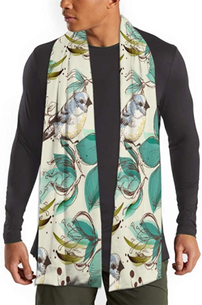 Men's And Women Winter Fashion Scarf Retro Seamless Pattern Cute Flowers And Birds Vector Long Plain Warm Soft Scarves For Men - Cotton Scarves For