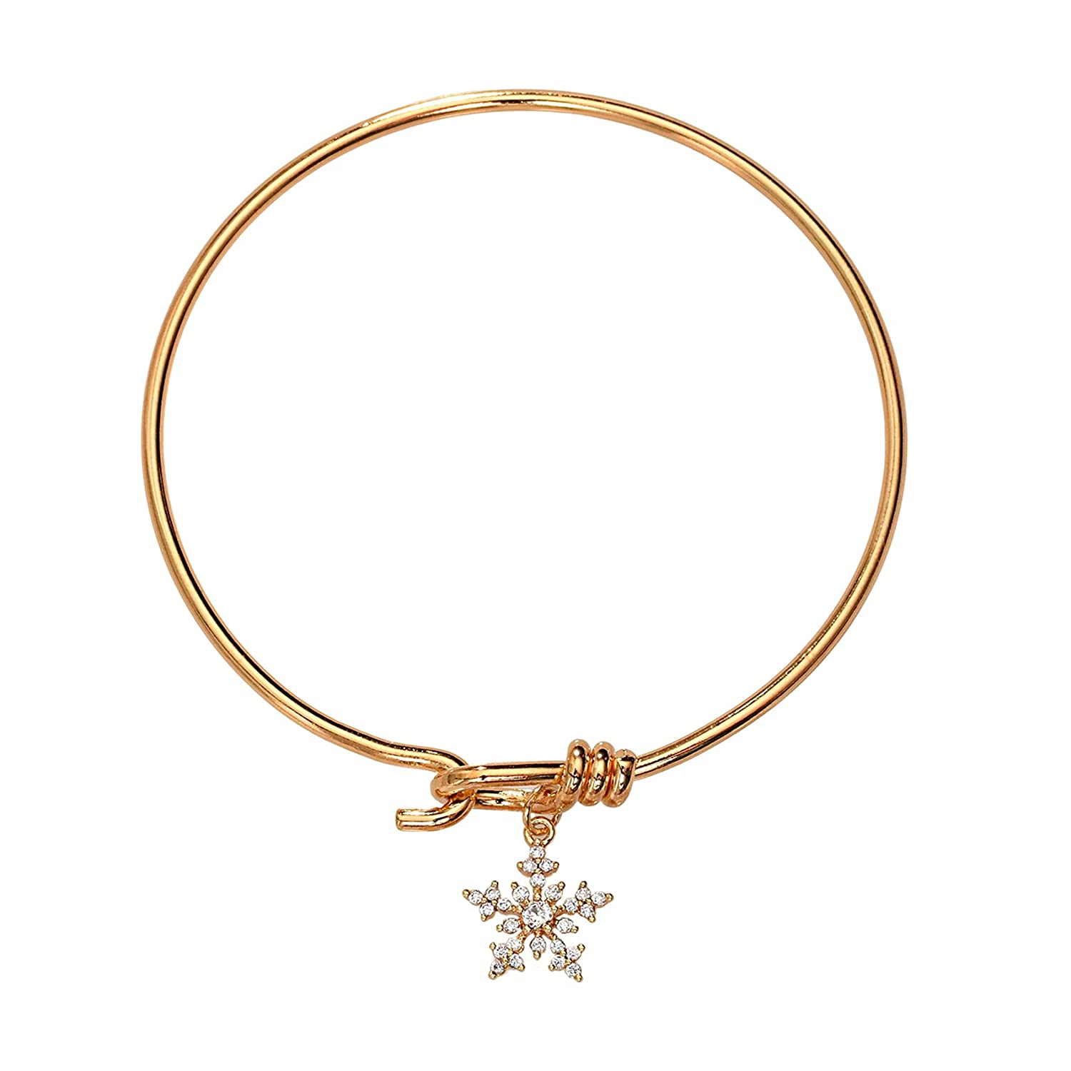 Crystal Special sale item Snowflake Gold-Tone Bangle New Orleans Mall Bracelet Wom for Gift Jewelry