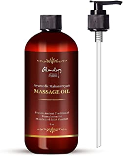 Glamology Proven Ayurvedic Mahanarayan Therapeutic Moisturizing Body Massage Oil - Herbs with Coconut Oil, Sesame Oil, Turmeric & Ginger for Sore Muscles & Stiffness