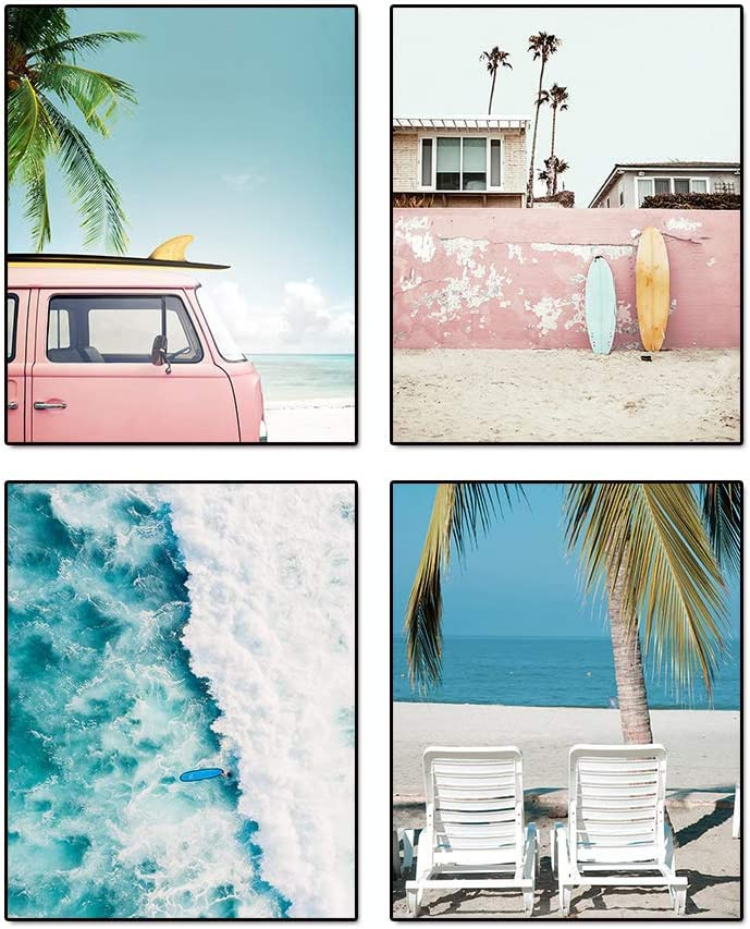 """Summer California Scenery Beach Palm Coastal Wall Art Prints Set of 4 (8""""X10"""" Canvas Picture) Retro Pink Car Surfboard Art Painting for Office Wall Art Posters, Bedroom Home Decor, No Frame"""