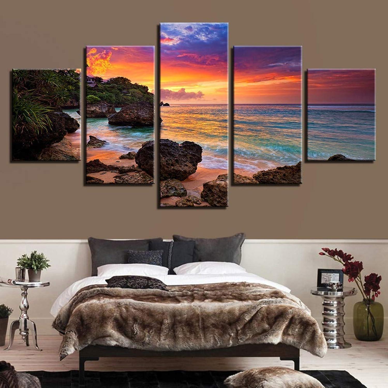 comprar marca YHEGV Impresiones en Lienzo Lienzo Arte Arte Arte de la Parojo Imágenes 5 Piezas Sunset Glow Paintings Decoración para el hogar Sala de EEstrella HD Prints Beach Waves Paisaje Marino Posters  n ° 1 en línea