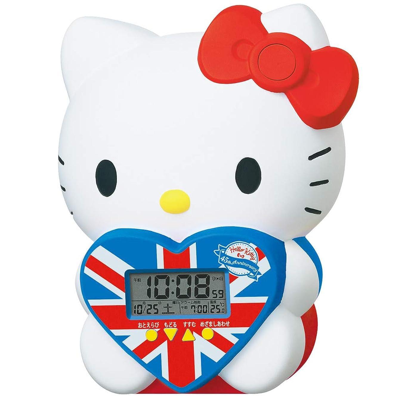 フォーマルスプリット謝罪セイコークロック 置き時計 ホワイト 本体サイズ: 17.9x14.7x11.9cm ハローキティ 目覚まし時計 デジタル JF801A