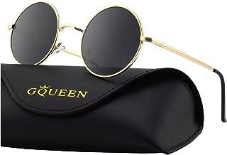 dc33ddf8f308a GQUEEN Lunettes de soleil polarisées classiques Ronde Rétro Vintage Métal  Cadre Lennon pour Homme et Femme