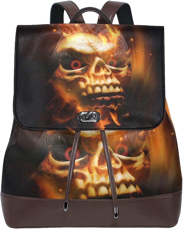 DEZIRO Leather Fire Smoke Skeleton Skull School Pack Backpacks Travel Bag