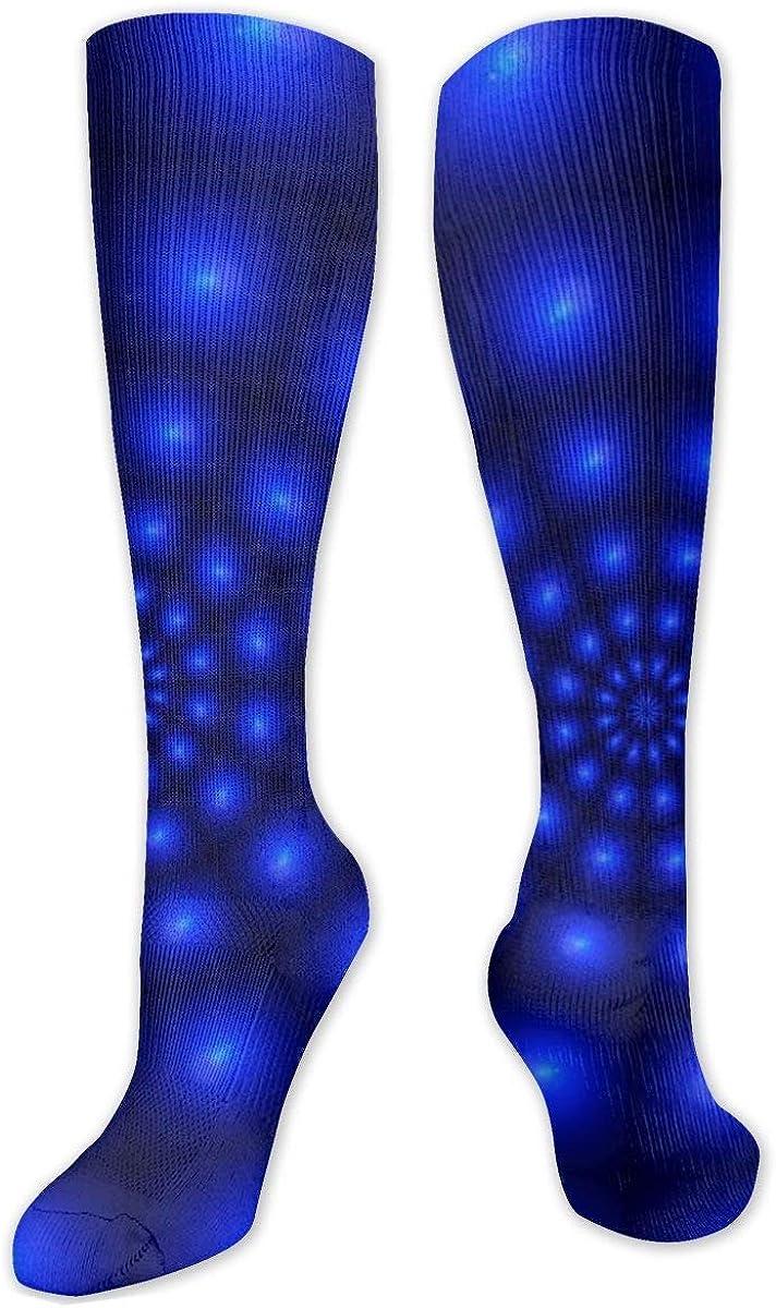 Blue Led Light Lines Rotation Knee High Socks Leg Warmer Dresses Long Boot Stockings For Womens Cosplay Daily Wear