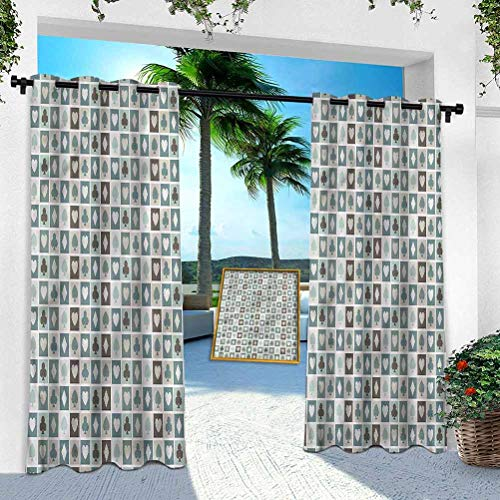 Aishare Store Outdoor Waterproof Curtains, Casino,Heart Spades Diamonds, 108 Inches Long Sunlight Blackout Insulated Drapes for High Ceiling Patio Door/Front Porch(1 Panel)