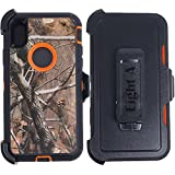 Apple iPhone X Case,Heavy Duty Camouflage Defender Rugged Protective Case with Belt Clip for iPhone X (Camo Orange)
