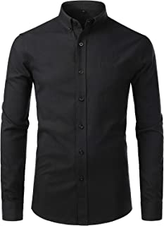 ZEROYAA Men's Casual Solid Slim Fit Long Sleeve Button Down Oxford Shirts with Pocket