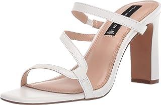 STEVEN by Steve Madden Women's Jerri Heeled Sandal, White Leather, 7 M US