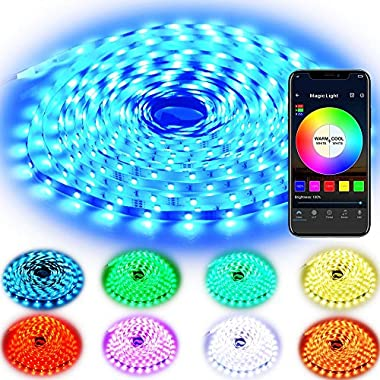 Rxment RGB LED Strip Lights with Remote - 5M 16.4 Ft 5050 RGB 150LEDs Full Kit, Blue LED Light Strip, LED Night Light, LED Rope Lights, LED Tape Light, Alexa Accessories, LED Light Strips, LED Lights