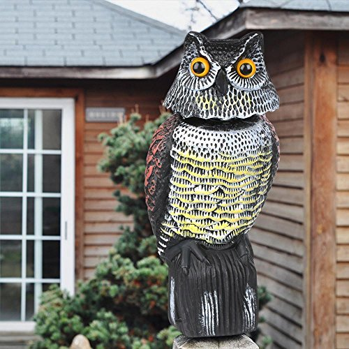 Yaheetech Realistic Owl Decoy with Rotating Head Garden Protection Repellent Bird Scarer
