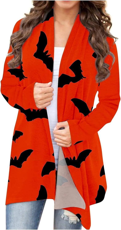 UOCUFY Halloween Cardigan for Women, Womens Top Funny Cute Pumpkin Ghost Graphic Long Sleeve Open Front Lightweight Coat