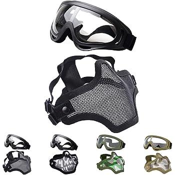 Woodland OneTigris Masque De Protection Visage Moiti/é en Maille dacier avec Les Sangles R/églables pour Airsoft Paintball CS