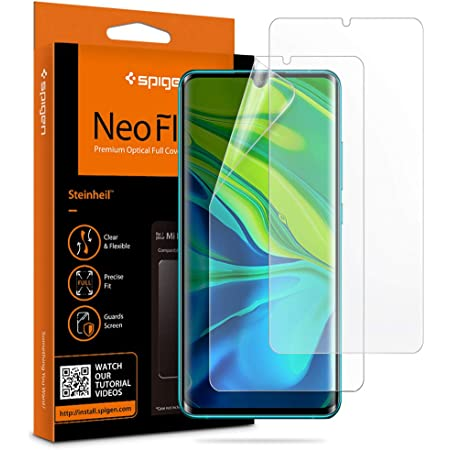 Spigen NeoFlex フィルム Xiaomi Mi Note 10 Pro、Mi Note 10 用 全面保護 TPU素材 Xiaomi Mi Note10 Pro、Mi Note10 用 貼り直しが可能 フルカバー 2枚入