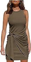 Dames zomerjurk casual korte mouw mini-jurk pure kleur elegante ruches taille T-shirt strik riem onregelmatige jurk S-XXL ...