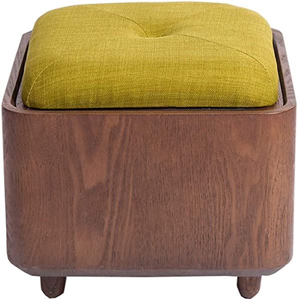 WZ Ottomans Footstool Multifunctional Black Walnut Creative Simple Locker Storage Sundries Shoe Stool Osman Pouffe Makeup Chair Coffee Table Bench Color Matcha