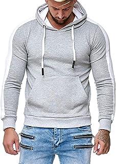 Felpa da uomo a maniche lunghe, con cappuccio, leggera, da jogging Grigio chiaro XL