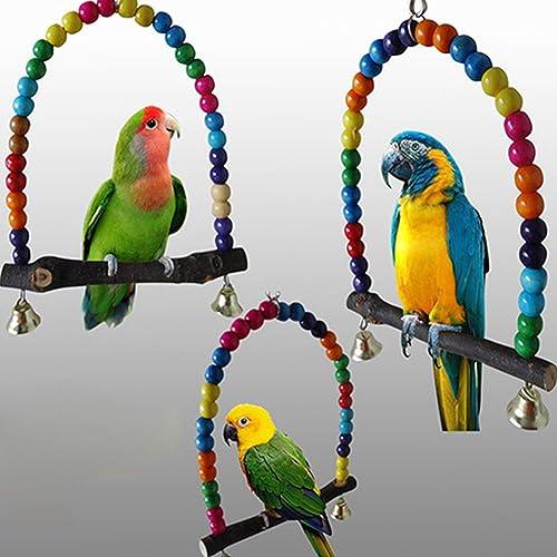 Delleu Balançoire en bois pour cage d'oiseau Arceau multicolore