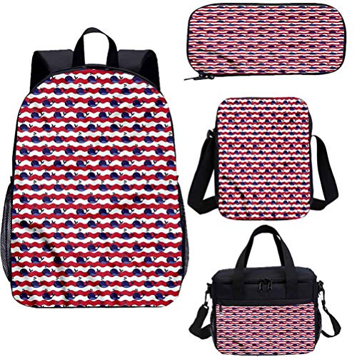 Whale 15' School Book Bag Lunch Bags Set,Nautical Baby Pattern Bookbags 4 in 1