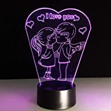 HRUIHKV Romantic I Love You 3D LED Lamp Sleep Nightlight Boy Kiss Girl Table Bedroom Beside Decor Girlfriend Lover Gifts Light Fixture