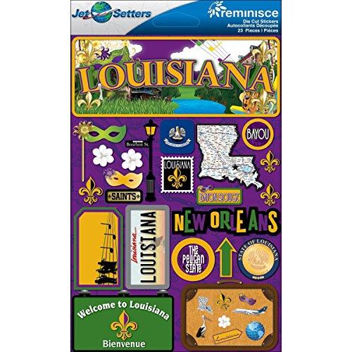 Reminisce Jet Setters Dimensional Stickers-Louisiana