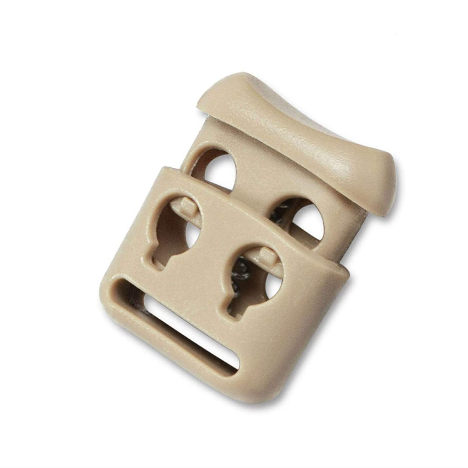 Double Hole Plastic Cord Locks End Spring Stop Toggle Stoppers Multi-Colour (10PCS, Khaki)