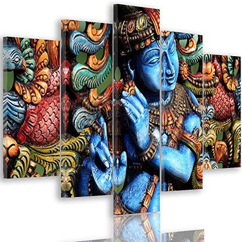 Feeby Frames, Quadro multipannello di 5 Pannelli, Quadro su Tela, Stampa Artistica, Canvas Tipo A, 100x150 cm, Statua, Buddha, Zen, India, Oriente, Multicolor