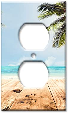 Art Plates Duplex Outlet Cover Wall Plate - Beach View from the Walkway