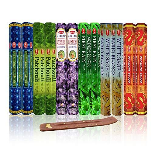 Six Most Popular HEM Incense Scents With Free Burner - Each of Dragon's Blood, Frankincense & Myrrh, Patchouli, Precious Lavender, First Rain, and White Sage (240 Sticks)