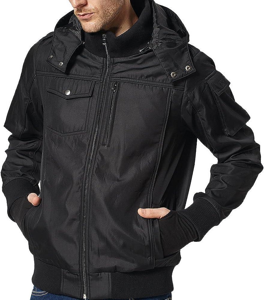 BOMBAX Travel Jacket Men,10 Pockets Windbreaker Flight Bomber Jacket & Coats