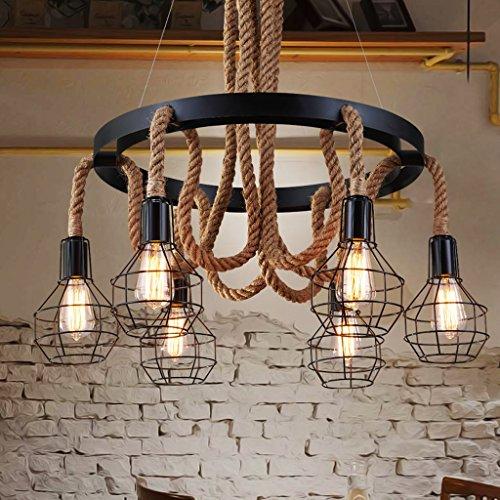 Modeen Americana de Marihuana Rural Seis Cabezas Lámpara de cáñamo Araña Vintage Loft Restaurante Retro Restaurante Lámpara de Techo de Hierro Hierro Inn Cortijo Luz Colgante