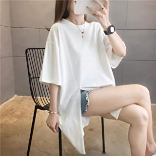 Fashion Casual Split Short Sleeve T-Shirt Loose Large Size Ladies 3DHD Printed Letters in Long Loose Crew Neck Shirt Top W...