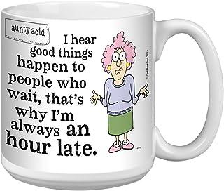 Tree-Free Greetings Extra Large 20-Ounce (591ml) Ceramic Coffee Mug, Aunty Acid an Hour Late, Multi-Colour, 10.3 x 15.24 x...