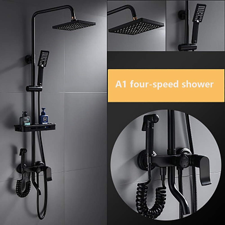 Duscharmatur Zwei-Wege-Brausegarnitur, mechanische Temperaturregelung (kein Stpsel) mit Dusche und Handbrause 3 Funktion Wandmontage Duschsystem (inkl. Montagezubehr) Large schwarz 1