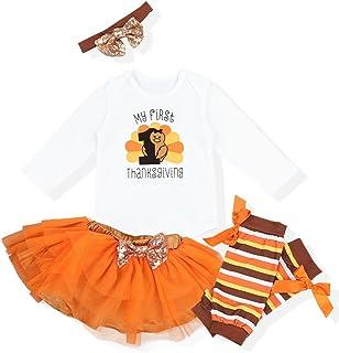 701c8ba416b2 Okgirl Baby Girl My First Thanksgiving Outfits Sets Letter Romper Orange  Short Skirt Bodysuit with Headband